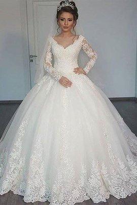 Normale Taille V-Ausschnitt Langärmeliges Duchesse-Linie Brautkleid aus Tüll
