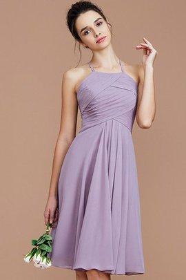 Gerüschtes Natürliche Taile Prinzessin Ärmelloses Mini Brautjungfernkleid