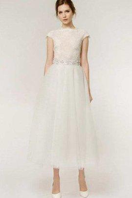 Perlenbesetztes Reißverschluss Schlichtes Knöchellanges Brautkleid mit Gürtel