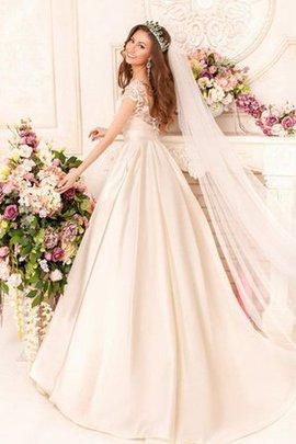 A-Line Schaufel-Ausschnitt Bodenlanges Konservatives Brautkleid mit Kapelle Schleppe