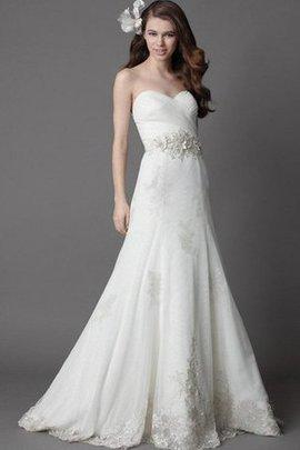 A-Line Gerüschtes Elegantes Brautkleid aus Organza mit Applike