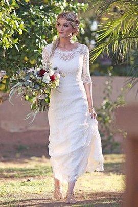 Spitze Ärmellos Halbe Ärmeln Schlüsselloch Rücken Brautkleid mit Bordüre