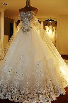 Schön A-Linie Perlen Applike Klassisch Lang Brautkleid
