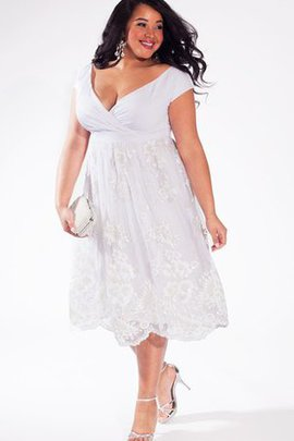 A-Line Gerüschtes Legeres Brautkleid im Empire Stil mit V-Ausschnitt