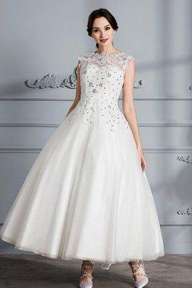 Ärmelloses Schaufel-Ausschnitt Tüll Duchesse-Linie Wadenlanges Brautkleid