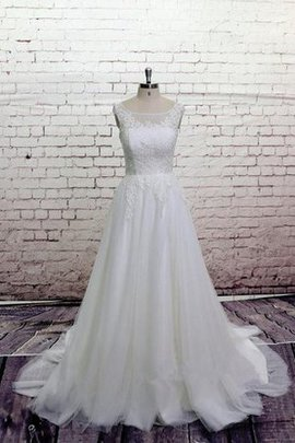A-Line Natürliche Taile Schlüsselloch Rücken Wadenlanges Brautkleid mit Knöpfen