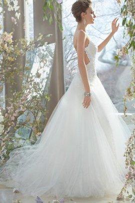 Duchesse-Linie Spaghetti Träger Bodenlanges Brautkleid mit Bordüre ohne Ärmeln