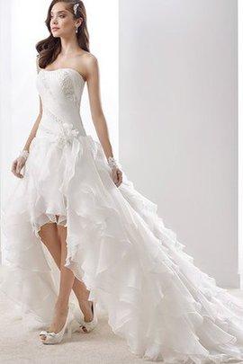 Trägerlos Chiffon Natürliche Taile Elegantes Brautkleid mit Mehrschichtigen Rüsche