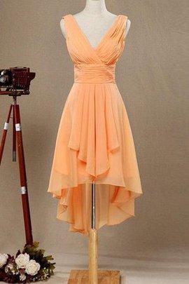 A-Line Hoch niedrig Chiffon Plissiertes Brautjungfernkleid mit Natürlicher Taille
