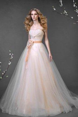 A-Line Gericht Schleppe Ärmellos Bodenlanges Brautkleid mit Herz-Ausschnitt