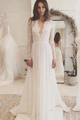 A-Line Langärmeliges Plissiertes Ärmelloses Elegantes Brautkleid