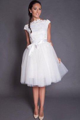 A-Line Satin Hoher Ausschnitt Brautkleid mit Schleife aus Tüll