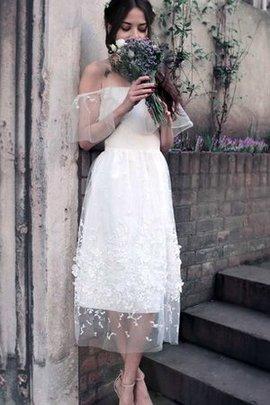 Kurze Ärmeln Wadenlanges Langes Informelles Brautkleid mit Natürlicher Taille