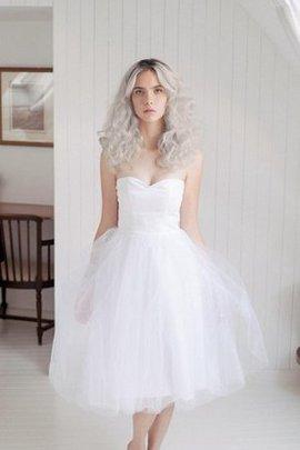 Tüll A-Line Ärmelloses Normale Taille Brautkleid mit Reißverschluss
