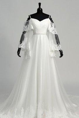 A-Line Perlenbesetztes Romantisches Brautkleid mit Reißverschluss mit Gericht Schleppe