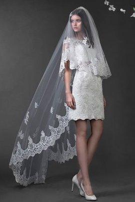 Kapelle Schleppe Natürliche Taile Bodenlanges Mini Brautkleid mit Applike