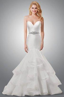 Rückenfreies Satin Keine Taille Elegantes Brautkleid mit Mehrschichtigen Rüsche