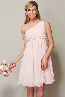 A-Linie Mini Knielanges Brautjungfernkleid mit Schleife aus Chiffon