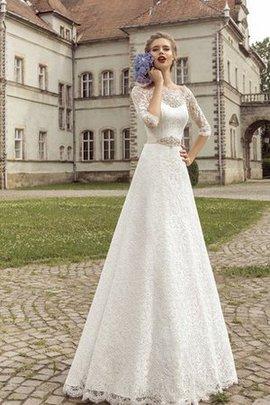 Halbe Ärmeln Sweep Train Elegantes Schlichtes Brautkleid mit Gürtel