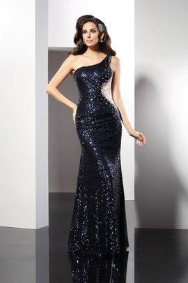 Paillette ein Träger Enges Normale Taille Bodenlanges Abendkleid