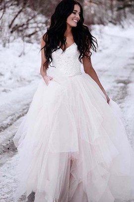 Gerüschtes Tüll Zauberhaft Reißverschluss A-Line V-Ausschnitt Bodenlanges Brautkleid