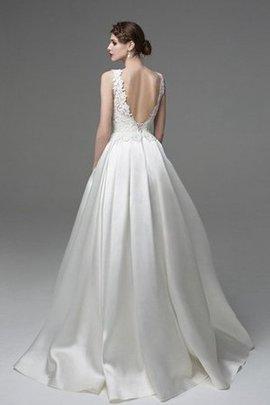 Schaufel-Ausschnitt Ärmellos Bateau Bodenlanges Sexy Brautkleid