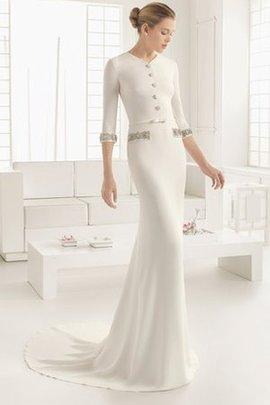Rückenfreies Halle Bodenlanges Sittsames Brautkleid mit Schmetterlingsknoten