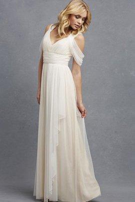 Tüll V-Ausschnitt Ärmellos Gerüschtes Romantisches Brautjungfernkleid