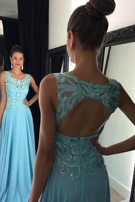Schaufel-Ausschnitt A-Linie Normale Taille Bodenlanges Abendkleid mit Applikation