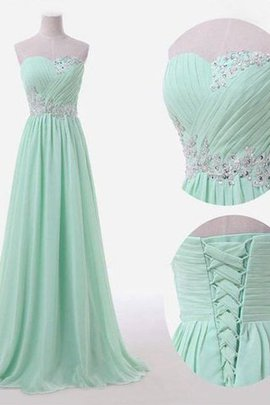 A-Line Ärmelloses Prinzessin Bodenlanges Brautjungfernkleid mit Empire Taille
