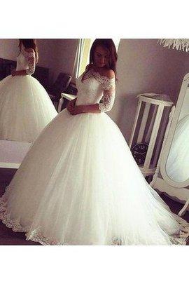 Tüll Reißverschluss Duchesse-Linie Luxus Brautkleid mit Applikation