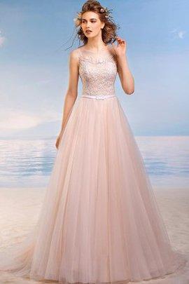 Tüll Bodenlanges Sittsames Brautkleid mit Rücken Schnürung mit Applike