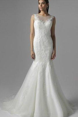 Meerjungfrau Stil Natürliche Taile Ärmellos Bodenlanges Brautkleid mit Perlen