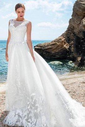 Strand Spitze Sweep Zug Reißverschluss Brautkleid mit Applikation