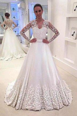 Prinzessin Normale Taille A-Linie Satin Lange Ärmeln Brautkleid