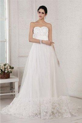 Reißverschluss Ärmelloses Sittsames Brautkleid mit Applike mit Empire Taille