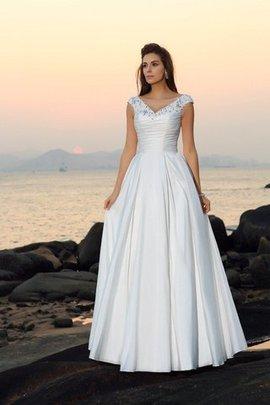 Beach Stil A-Linie Empire Taille Bodenlanges Brautkleid mit Applike