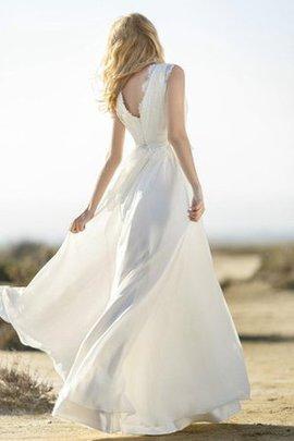 Spitze Strand Ärmelloses Tiefer V-Ausschnitt Legeres Brautkleid
