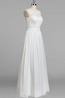 Chiffon Glamouröses Knöchellanges Legeres Brautkleid mit Juwel Ausschnitt