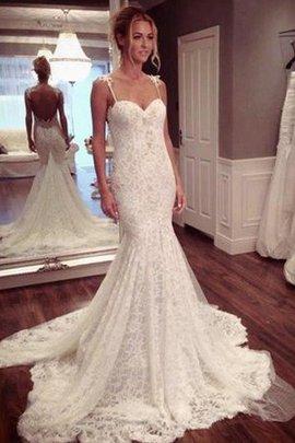 Klassisches Herz-Ausschnitt Gericht Schleppe Brautkleid aus Spitze ohne Ärmeln