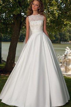 Juwel Ausschnitt Luxus Bodenlanges Brautkleid aus Satin mit Rücken Schnürung