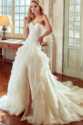 Gerüschtes Natürliche Taile Extravagantes Brautkleid mit Bordüre mit Rüschen