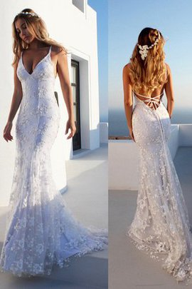 Große Verkäufe Meerjungfrau Ärmelloses Normale Taille Tüll Brautkleid mit Bordüre