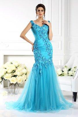 Meerjungfrau Empire Taille Breiter Träger Ärmellos Abendkleid aus Seide wie Satin