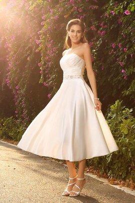 Perlenbesetztes Prinzessin A-Linie Mini Wadenlanges Brautkleid