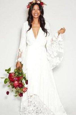 Spitze Drapiertes Tiefer V-Ausschnitt Brautkleid mit Bordüre aus Chiffon