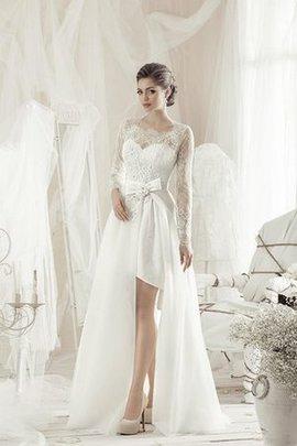 Spitze Langärmeliges Satin Modisches Brautkleid mit Schleife