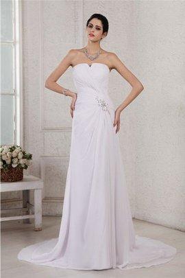 Ärmellos Plissiertes Trägerloser Ausschnitt Empire Taille Chiffon Brautkleid