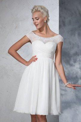 A-Line Gerüschtes Prinzessin Mini Brautkleid mit Empire Taille