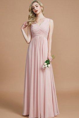 A-Line Prinzessin Chiffon Bodenlanges Brautjungfernkleid mit Reißverschluss
